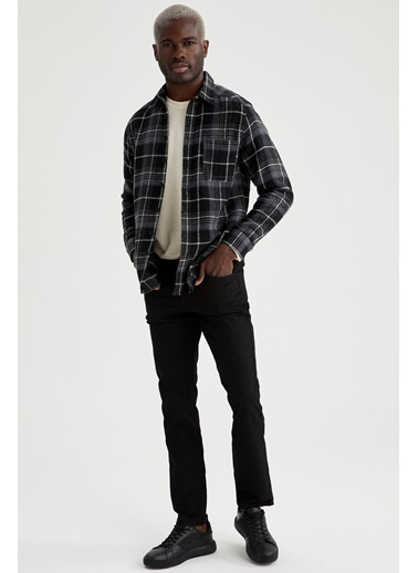 DeFacto Kareli Regular Fit Uzun Kollu Oduncu Gömlek Siyah